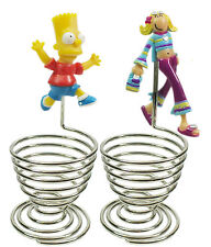 3D Bart Simpsons or Groovy Chick Chrome Finish Wire Egg Cups