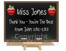 Personalised Metal Plaque Easel Teacher Teaching Assistant Thank You Sign