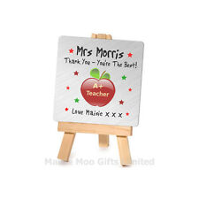 Personalised Silver Metal Plaque Easel Teacher Teaching Assistant Thankyou Sign