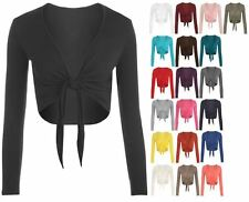 NEW LADIES LONG SLEEVE TIE UP FRONT CROPPED SHRUG BOLERO CARDIGAN TOP UK 8-22