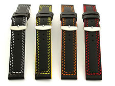 Men's Two-piece Genuine Leather Watch Strap Band Orion Ss. Buckle Spring Bars