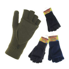 Mens Thermal Fingerless Combo Gloves Shooting Mittens with Spandex BNWT