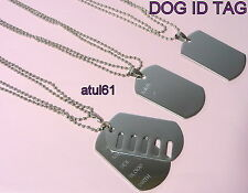 PERSONALISED MILITARY STYLE ID DOG TAGS PENDANT LONG BALL CHAIN TAG NECKLACE
