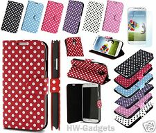 Polka Dots PU Leather Wallet Cover Case Stand for Samsung Galaxy S4 i9500 i9505