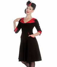 HELL BUNNY 50's RONA cocktail POLKA DOT party DRESS BLACK RED