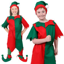CHILDS ELF COSTUME & HAT SANTAS LITTLE HELPER CHRISTMAS FANCY DRESS BOYS GIRLS