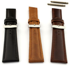 Two-Piece Men's Genuine Leather Watch Strap Band Cavalier Stainless Steel Buckle