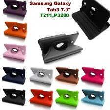 Samsung Galaxy TAB 3 7 inch Flip Rotate Case Cover Stand P3200 T211 Rotating 7""