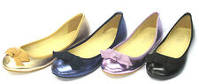 *SALE* Ladies Spot On Manmade Flat Ballerina Shoes with Bow Trim  - F8976