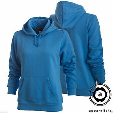 Nike Women's Hooded Top Overhead Jumper Kangaroo Hoody Black SkyBlue 361107-497