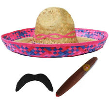 MEXICAN SOMBRERO LADIES STRAW HAT WESTERN HEN PARTY FANCY DRESS ADD ACCESSORIES
