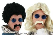 MENS 70S KIT WIG GLASSES AND MOUSTACHE BLACK AFRO BLONDE FLICK HIPPY FANCY DRESS