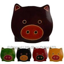 NEW Kids Childrens Girls LEATHER Cute PIG Coin Purse Gift Handcrafted Fairtrade