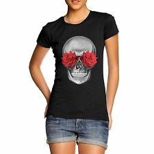 Womens Gothic Print Skulls Flower Eyes T-Shirt
