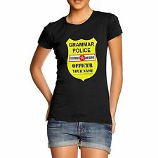 Twisted Envy Women's Personalised Grammar Police Funny T-Shirt