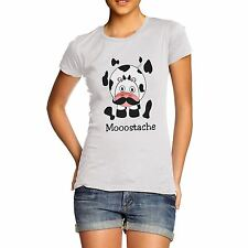 Women's Cow Mooostache Funny Cartoon Print T-Shirt