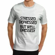 Mens Stressed but Well Dressed Funny Quote T-Shirt Black Small