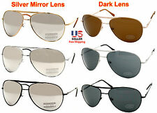 AVIATOR STYLE SILVER GOLD BLACK METAL FRAME MIRROR / DARK LENS SUNGLASSES SHADES