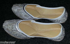 White Emroidered hand made punjabi jutti shoes bridal wear PJ9727