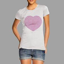 Women's Fuchsia Heart Rhinestone Crystal Gem Diamante T Shir