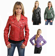 Womens Leather Biker Jacket Tailored Cut MOST POPULAR Black Green Red Purple NEW