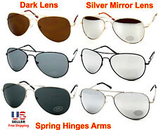 Men Women Aviator Gold Silver Black Frame Sunglasses Dark or Silver Mirror Lens