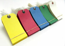 250 Large Reinforced Strung Tags - Coloured Tags - Luggage Labels 120 x 60mm