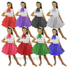 CHILD'S ROCK N ROLL SKIRT & SCARF POLKA DOT 1950S FANCY DRESS COSTUME DANCE SHOW