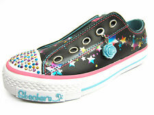 Girls Skechers Twinkle Toes Black Multi Slip On Pumps Style SPECKLES