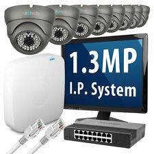 8 x 1.3 Megapixel Nightvision HD 960p 25fps Realtime IP Camera 8 CH P2P CCTV Kit