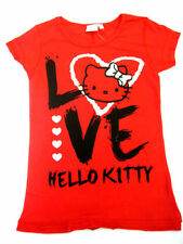 Ladies Hello Kitty Red T-Shirt with Glitter Heart 'Love' Design