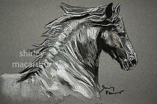 BLACK FRIESIAN HORSE PRINTS of Original Painting 'THE GREY' by SHIRLEY MACARTHUR