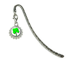 Four Leaf Clover - Irish - Metal Bookmark Page Marker with Bottlecap Charm