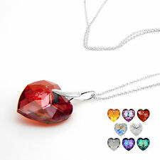 Swarovski Elements Necklace Crystal Heart Pendant Multi listing Gift Idea NEW