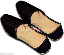 Plain BLACK Hand Made Punjabi Jutti Desi khussa mojri Shoes for Men PJ9739