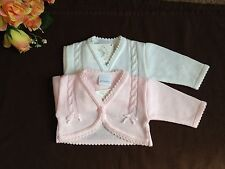 Baby Flower girls Bridesmaid white pink bolero jacket shrug knitted cardigan