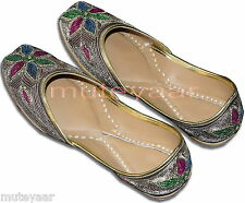 Dabka Work Hand Embroidered hand made punjabi jutti shoes bridal wear PJ9744
