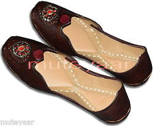 Brown Designer Hand Made Punjabi Jutti Shoes Casual  Daily Wear PJ9748