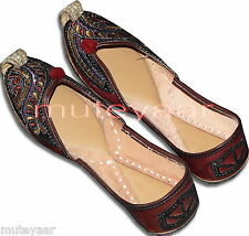 Brown Leather threadwork Desi Punjabi Jutti Shoes Casual Daily Party Wear PJ9754
