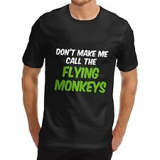 Mens Cotton Novelty Funny Design  Flying Monkeys T-Shirt Black Small