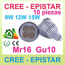 10xRegulable lampara LED mr16 gu10 9w 12w 15w CREE Epistar - excelente calidad!!