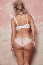 New Tutti Rouge Rosa Satin & Lace Brazilian Thong Ivory  Sizes S, M, L