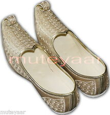 Gold Desi Hand Made Embroidered Wedding Groom Achkan Sherwani Jutti Shoes ACJ06
