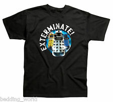 MENS T SHIRTS DR WHO DALEKS EXTERMINATE DOCTOR BLUE SILVER GOLD COTTON GIFT IDEA