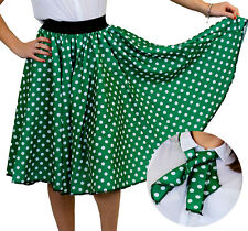 GREEN POLKA DOT SKIRT WITH WHITE SPOTS & SCARF 1950S ROCK AND ROLL FANCY DRESS