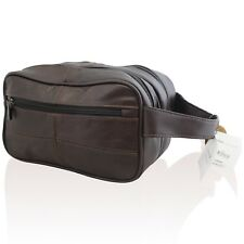 NEW MENS LEATHER TOILETRY TRAVEL WASH BAG TRAVEL KIT WASHBAG COWHIDE LEATHER3754