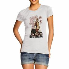 Twisted Envy Women's Japanese Samurai Dragon Wolf 100% Organic Cotton T-Shirt