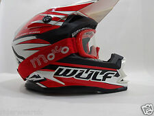 WULF ADVANCE Casco Bambini Moto Cross Quad Off road Scooter Racing, Red occhiali