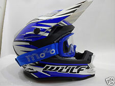 WULF ADVANCE Bambini Moto Casco Cross off-road Quad Casco Motocross BLU occhiali