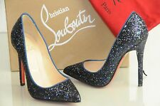 New Christian Louboutin PIGALLE 120 Glitter Navy Blue Pumps Shoes 35 STUNNING!